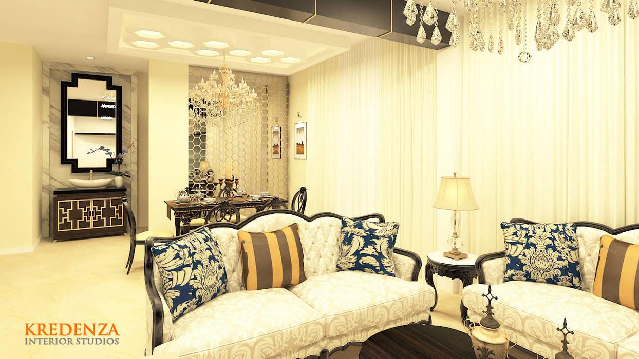 LIVING SPACE DESIGNS AT KRISHNA SHELTON:  Living room by Kredenza Interior Studios