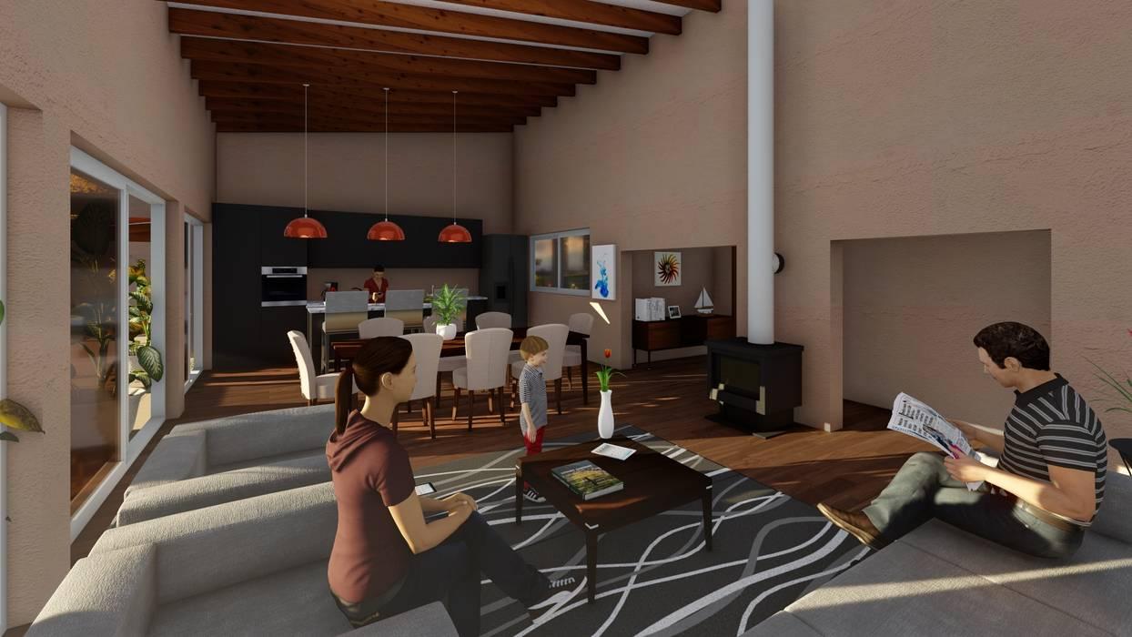 Living-comedor: Livings de estilo  por Atelier Arquitectura