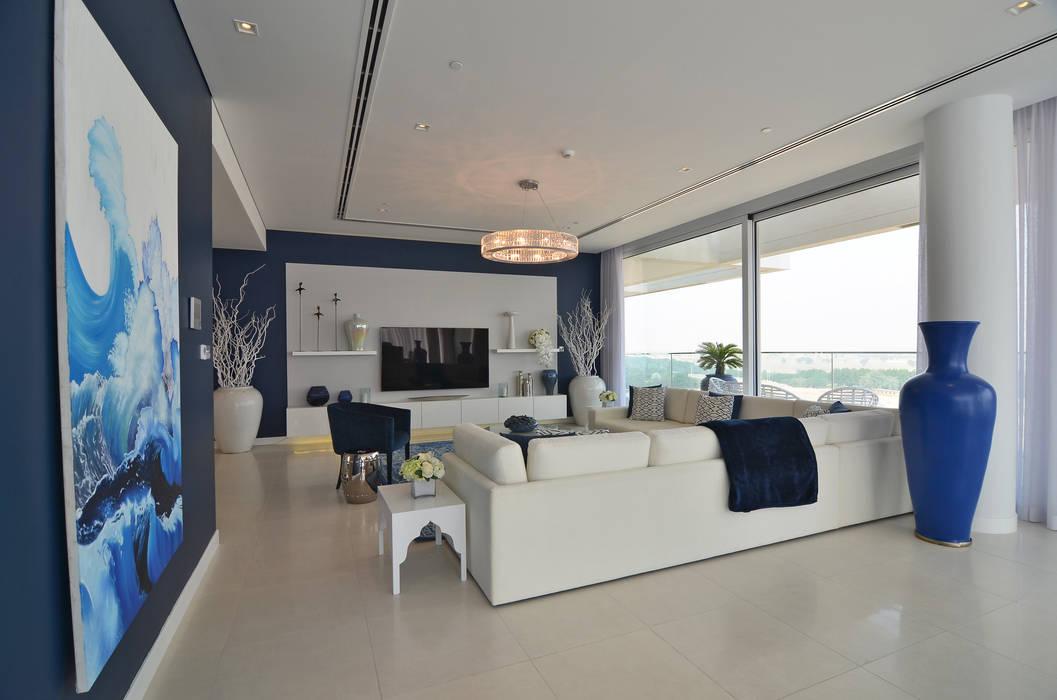 Ashjar (3) Mockup Apartment Salones de estilo ecléctico de Etcetera Living Ecléctico