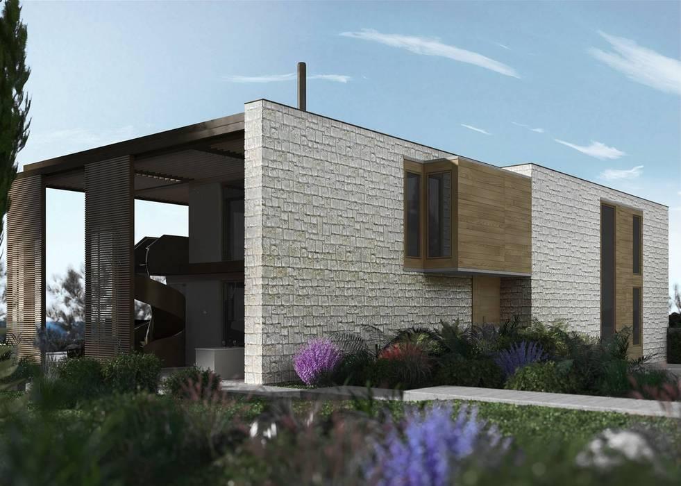 Carina House - progetto abitazione privata a cura dell'arch. Zaetta (Feltre): Giardino in stile in stile Moderno di MM Rendering Studio