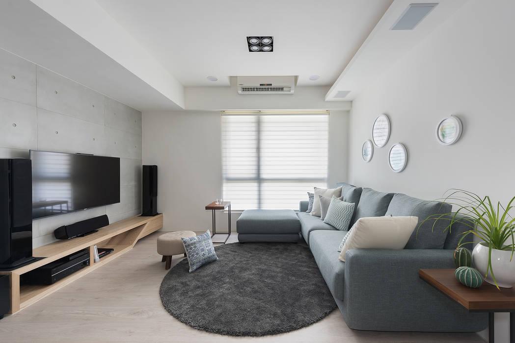 溫.沐光:  客廳 by 寓子設計, 北歐風