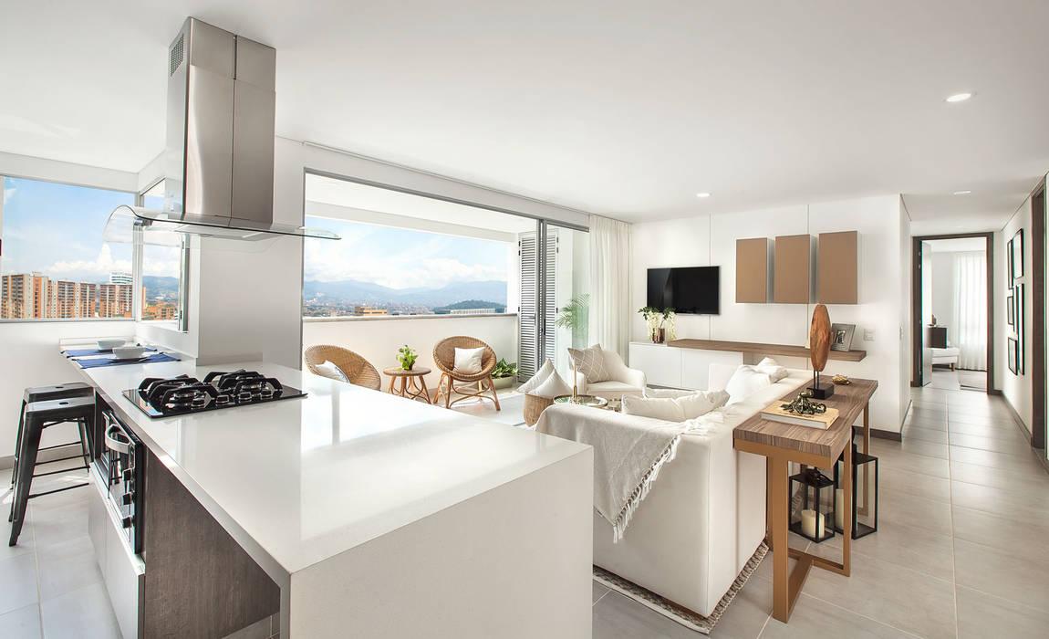 Salón y cocina Salas de estilo mediterraneo de Maria Mentira Studio Mediterráneo