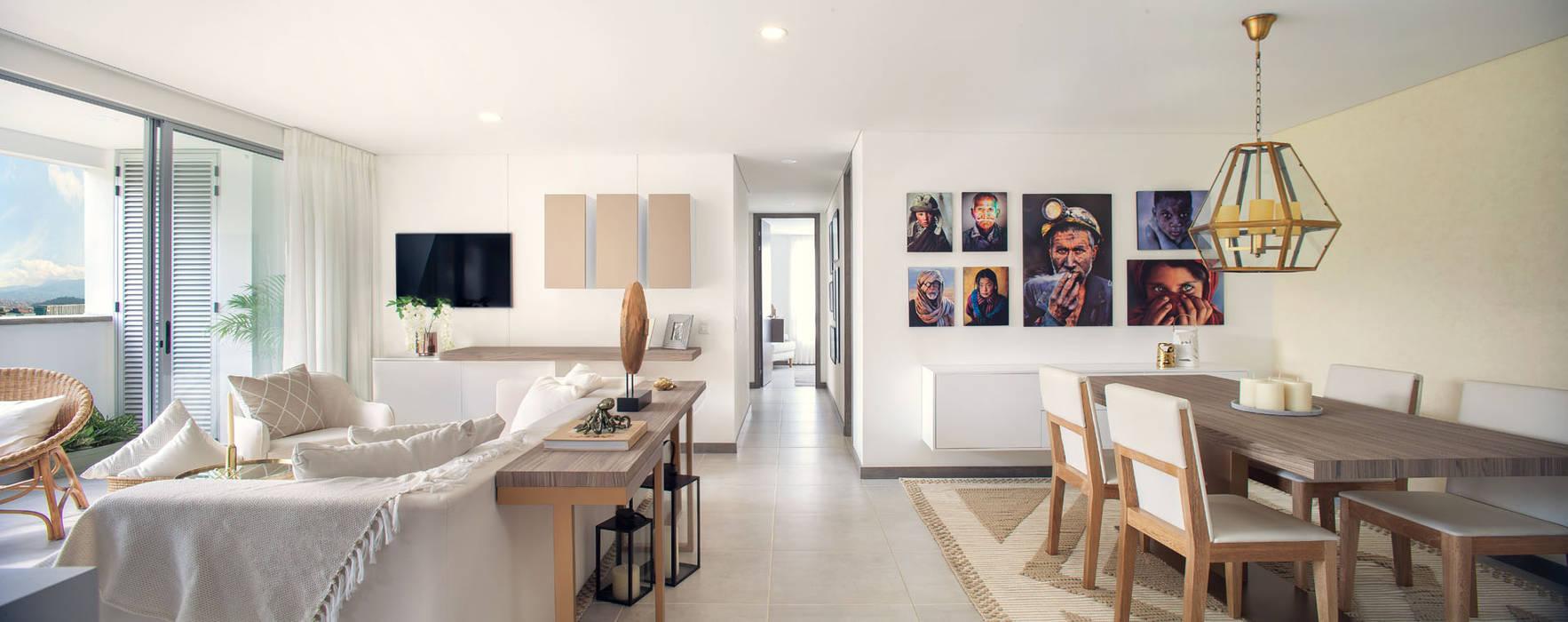 corredor: Salas de estilo  por Maria Mentira Studio