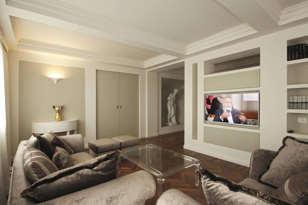 Architettura d\'interni in stile classico contemporaneo: soggiorno in ...