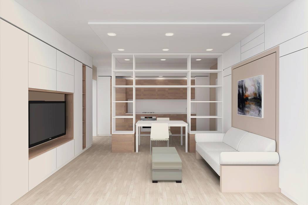Arredamento di design per un monolocale a milano: soggiorno in stile ...