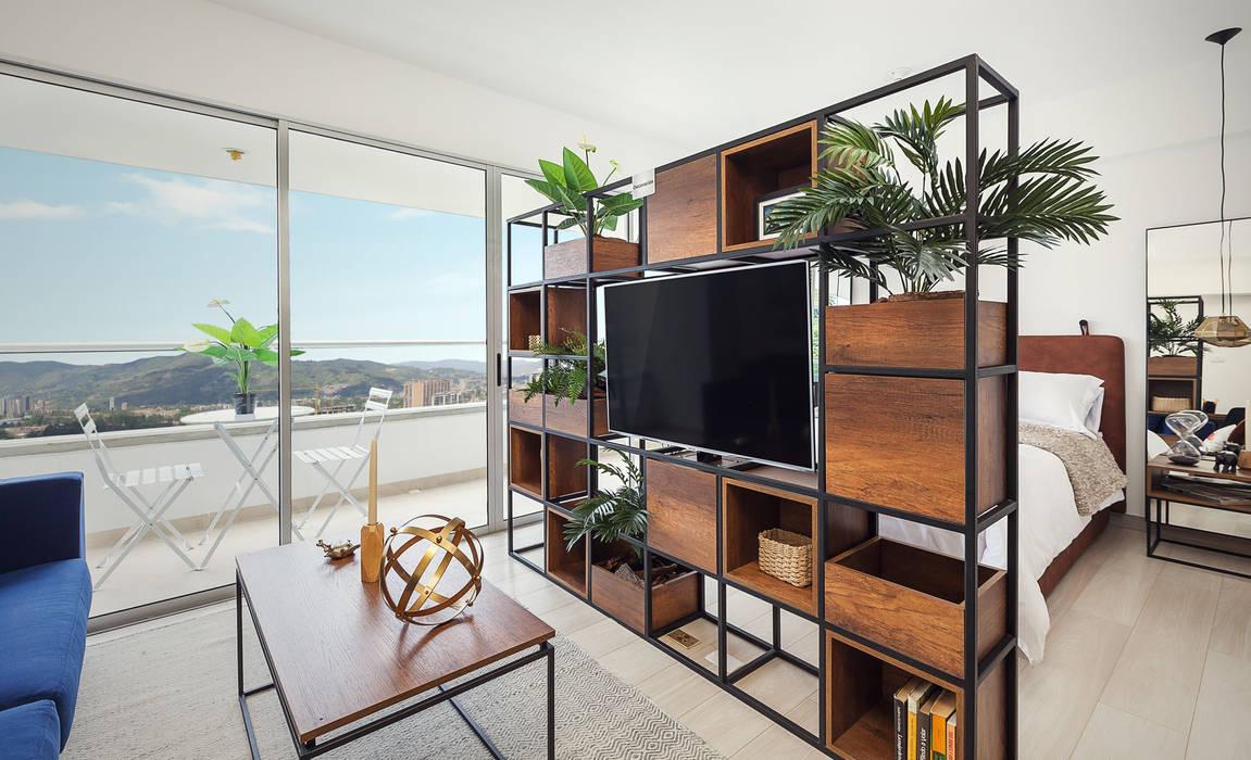 División espacio Salas modernas de Maria Mentira Studio Moderno Aglomerado