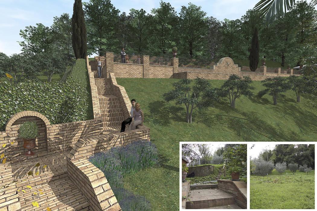 Bio-Piscina per una Country House nelle Marche: Giardino anteriore in stile  di JFD - Juri Favilli Design, Rurale
