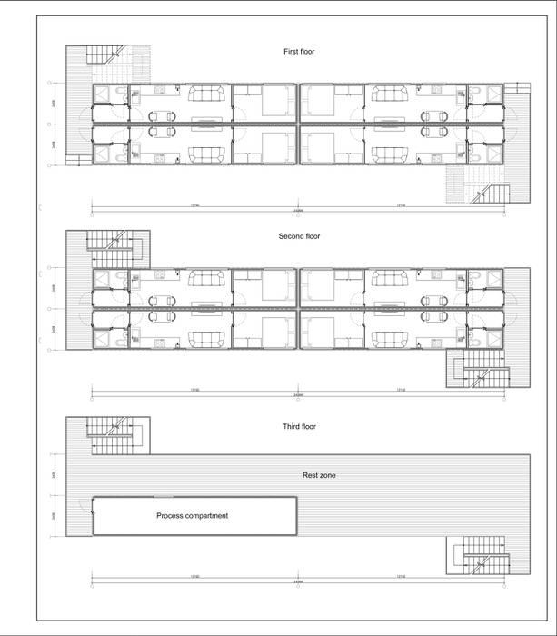 Жилой дом из морских контейнеров Стены и пол в скандинавском стиле от BMM Скандинавский