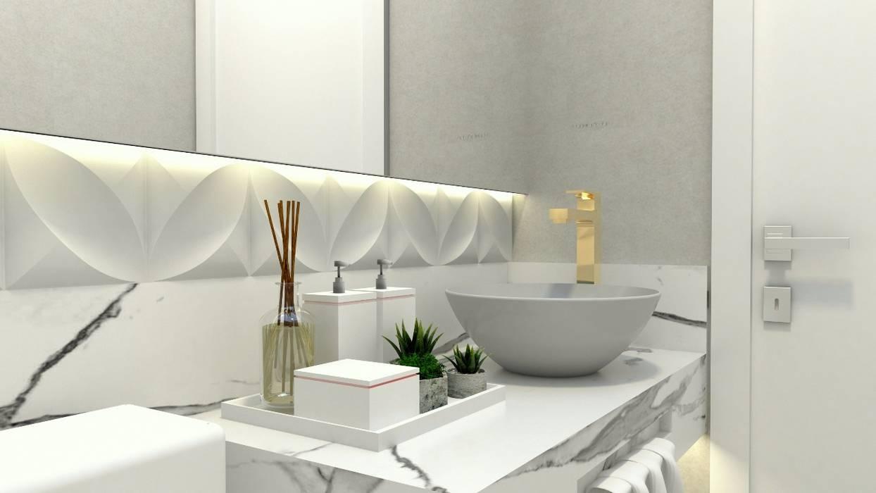 Perspectiva Lavabo: Banheiros  por Letícia Saldanha Arquitetura,