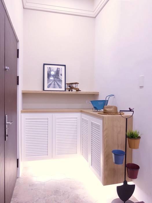 水木空間設計 homify 乡村风格的走廊,走廊和楼梯 White