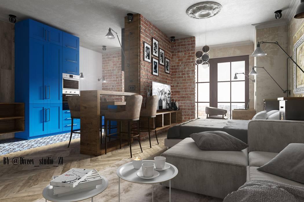 Квартира студия Гостиная в стиле лофт от Diveev_studio#ZI Лофт