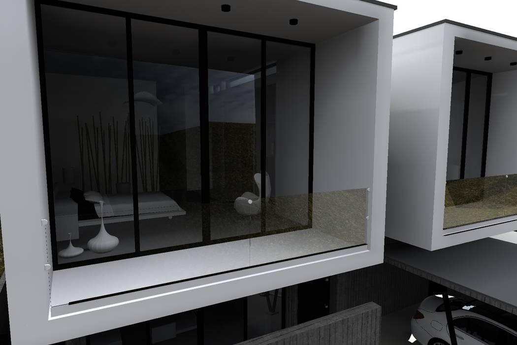 "CASA ""SIAMESA"" Dormitorio: Casas unifamiliares de estilo  por Dakota Austral"