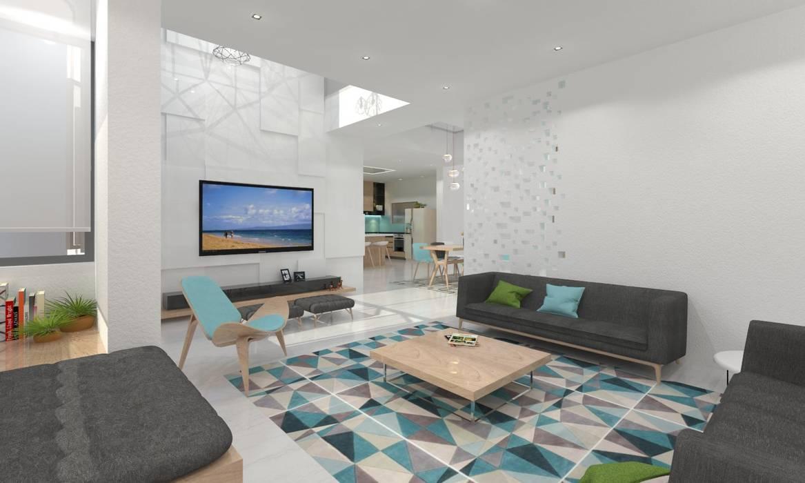 Living Room:  Living room by Ravi Prakash Architect,