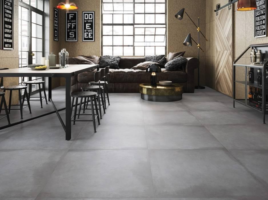 Fliesen in betonoptik – im loftlook: wohnzimmer von fliesen ...