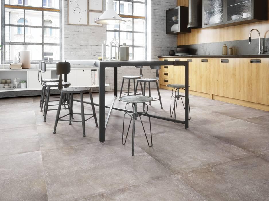 Betonoptikfliesen in der küche industriale küchen von ...