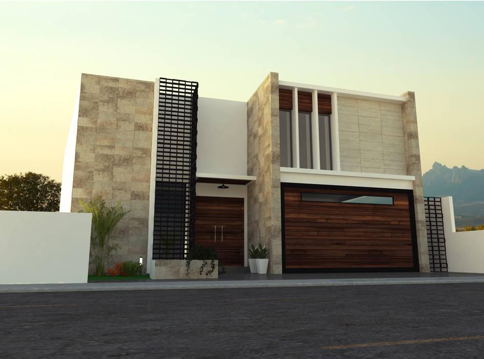 Fachada principal casas unifamiliares de estilo por for Diseno casas unifamiliares