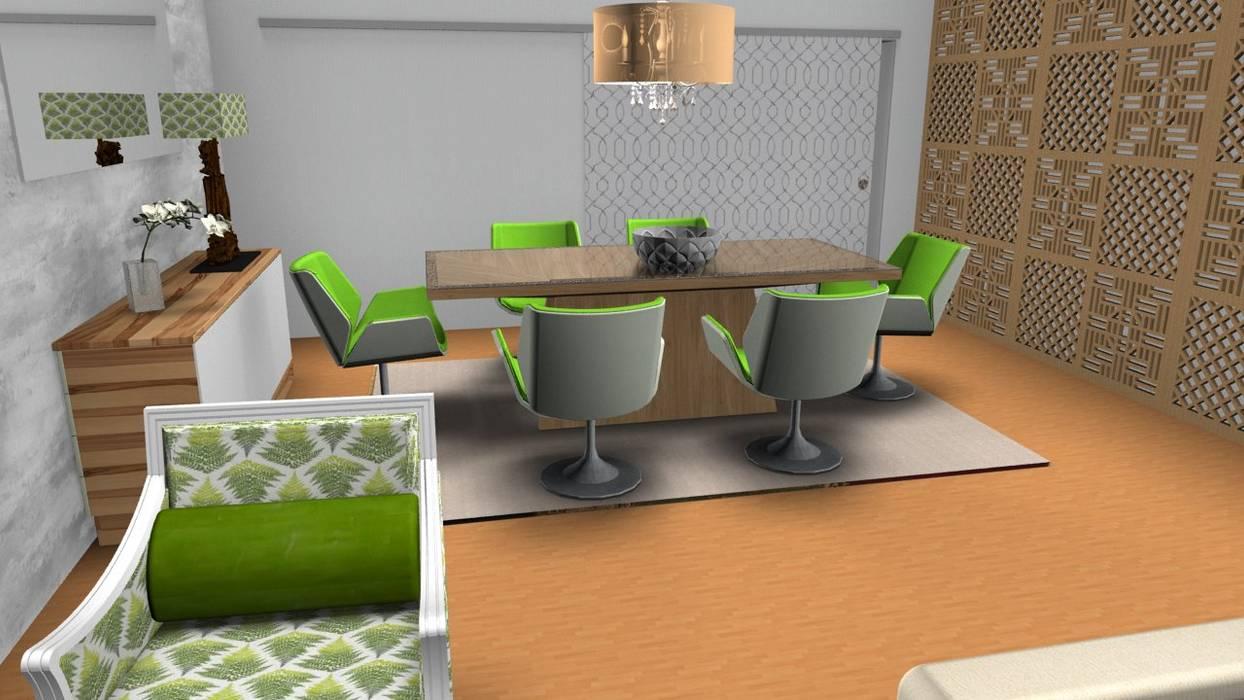 sala de jantar Centros de exposições tropicais por fc decoração de interiores Tropical