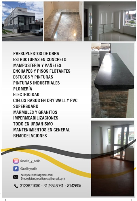 SERVICIOS!!! Casas de estilo clásico de CELIS & CELIS INGENIEROS CONSTRUCTORES S.A.S Clásico