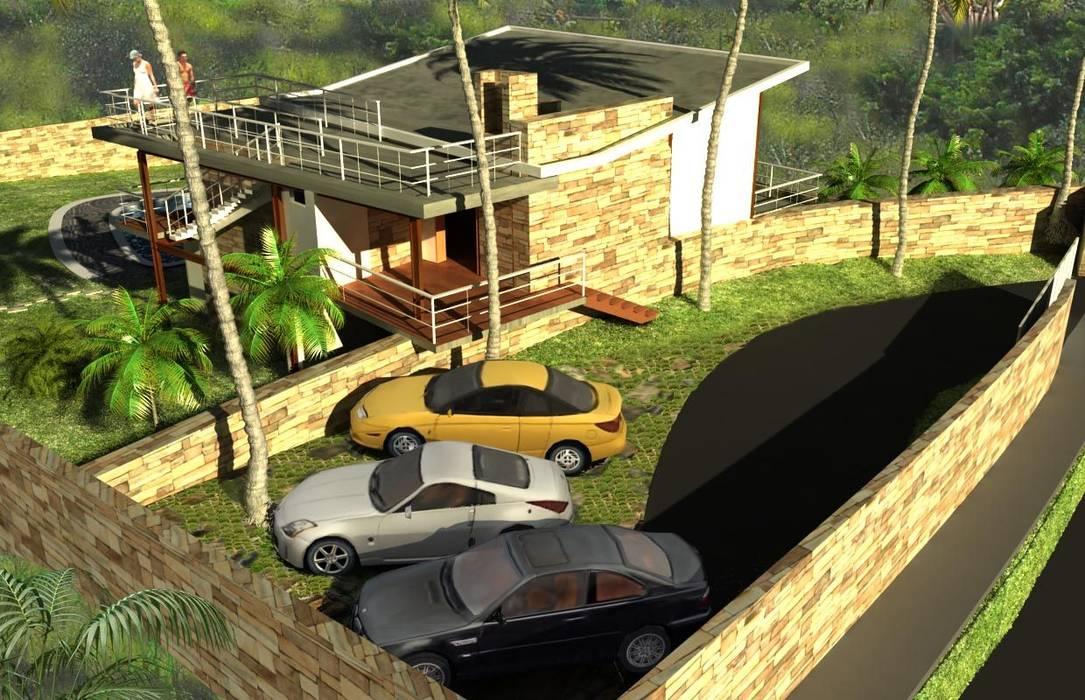 CASA DE VACACIONES PLAYERAS: Jardines en la fachada de estilo  por Proyectonica , Tropical Piedra