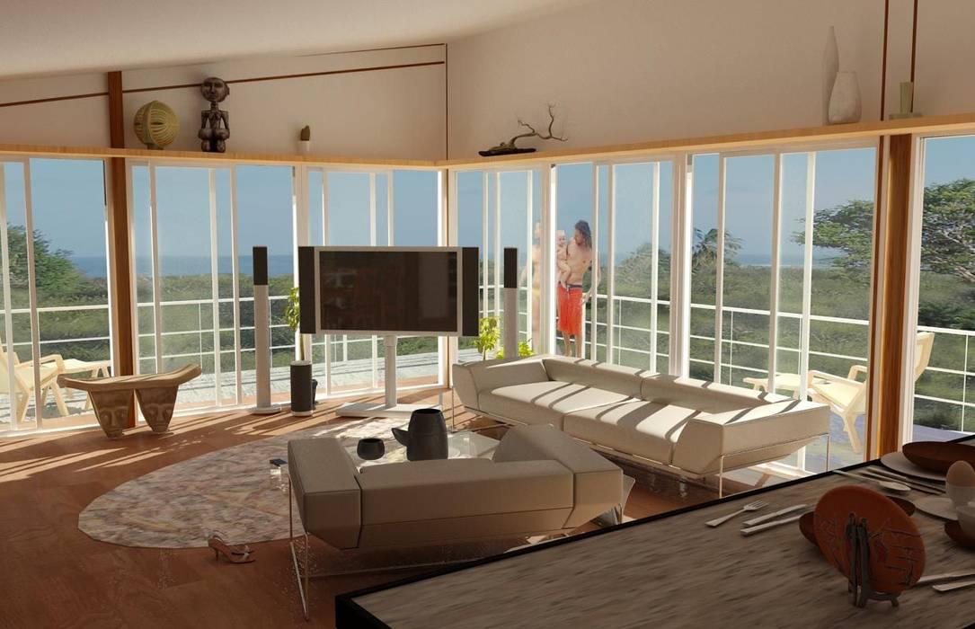 CASA DE PLAYA Salas de estilo tropical de Proyectonica Tropical Madera Acabado en madera