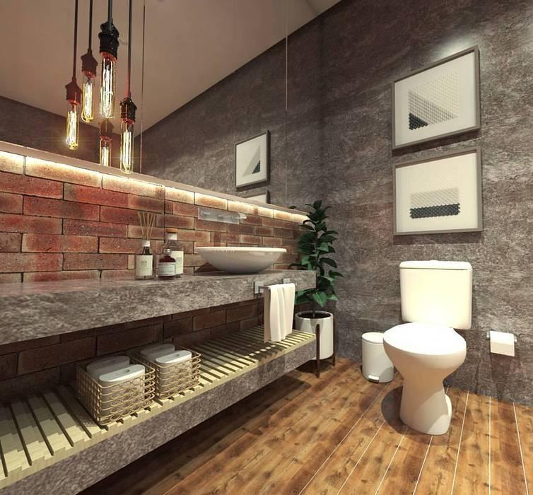 Imagem 02 Banheiros industriais por Caroline Berto Arquitetura Industrial Concreto