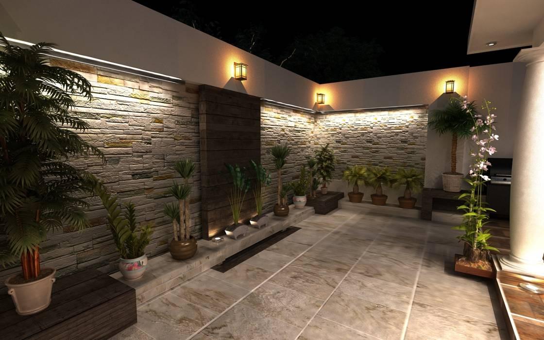 Terrazas de estilo  por OLLIN ARQUITECTURA , Moderno Piedra