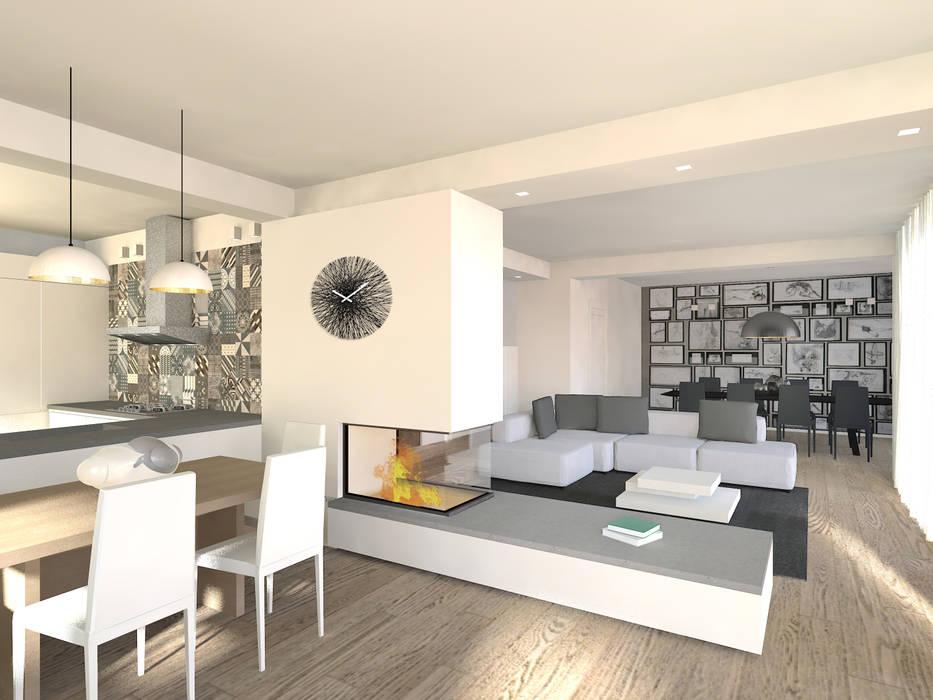 cucina open space: Sala da pranzo in stile  di Flavia Benigni Architetto,