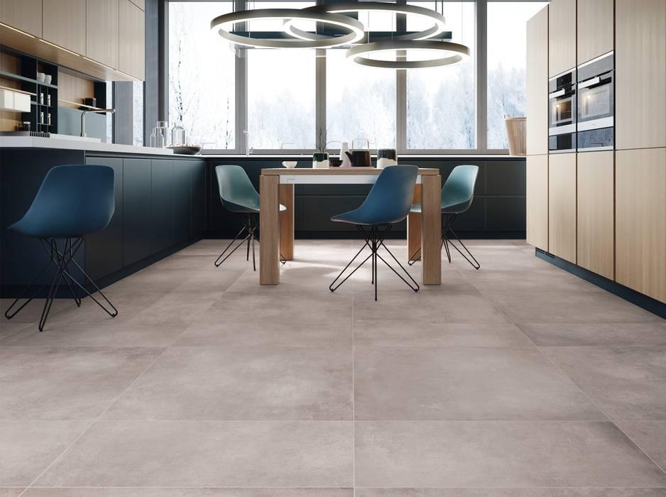 Küche mit fliesen in betonoptik industriale esszimmer von ...