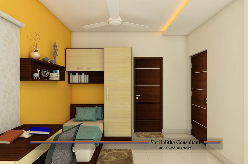 PROJECT @ KUKATPALLY Asian style bedroom by shree lalitha consultants Asian Engineered Wood Transparent