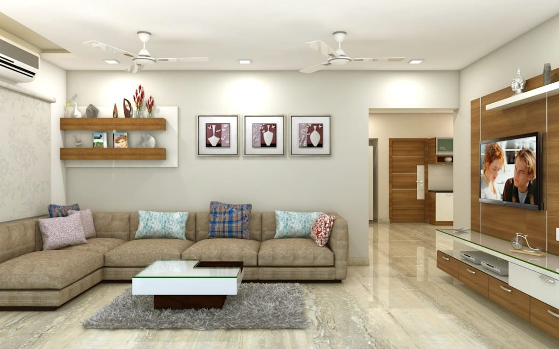 PROJECT @ GACHIBOWLI:  Living room by shree lalitha consultants,Asian Plywood
