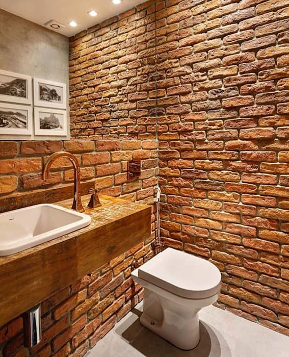 Guaraúna Revestimentos Rustic style bathroom