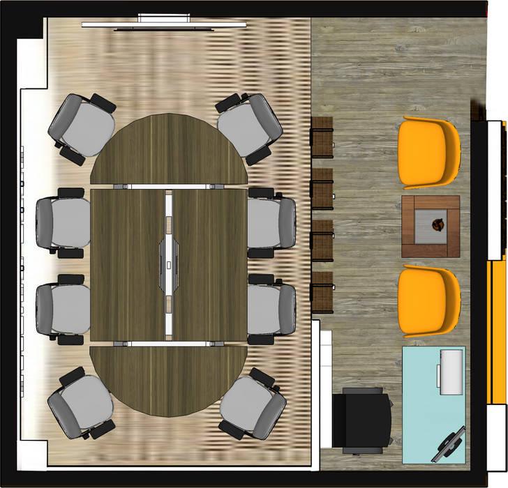 visualisasi layout desain ruang kantor KAMAJAYA JOGJA Ruang Studi/Kantor Modern Oleh MY Studio Modern Komposit Kayu-Plastik