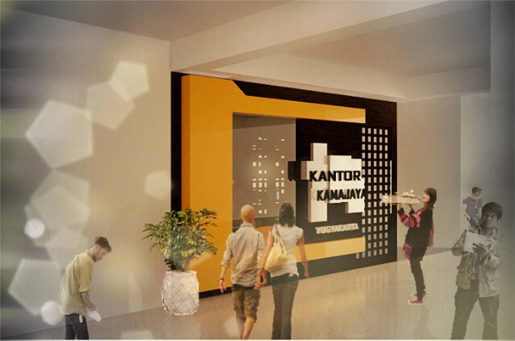 visualisasi 3d desain facade & interior ruang kantor KAMAJAYA JOGJA Ruang Studi/Kantor Modern Oleh MY Studio Modern Komposit Kayu-Plastik