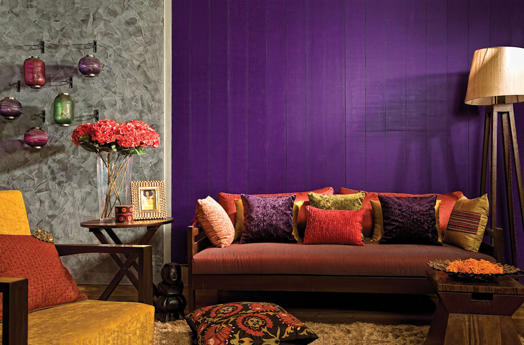 Dramatic Bold spaces Papersky Studio Rustic style living room