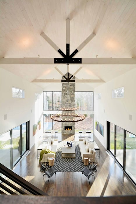 The Modern Barn by Plum Builders Inc. featuring Dunhill Reserve :  Living room by Plum Builders,