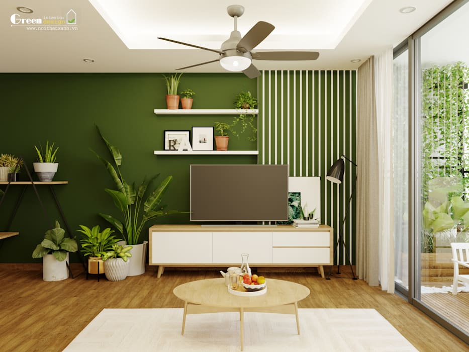 livingroom Phòng ăn phong cách nhiệt đới bởi Green Interior Nhiệt đới Gỗ thiết kế Transparent