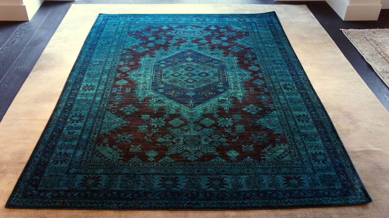 Kazakh Vorhang Blue Vintage od Sarmatia Trading Nowoczesny Wełna Pomarańczowy