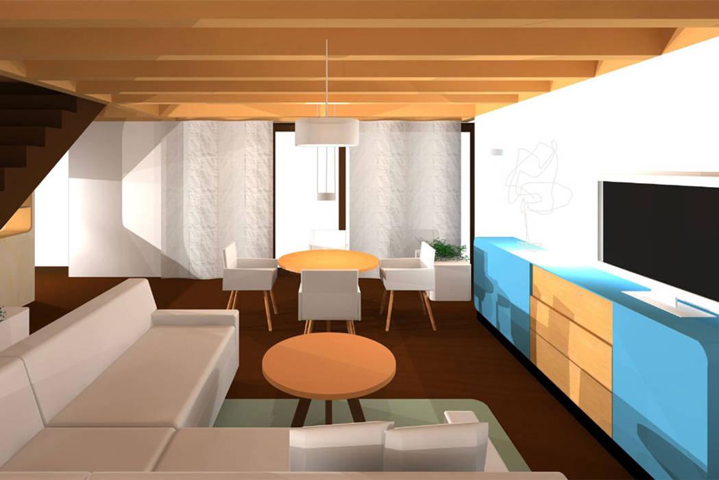 Neugestaltung eines einfamilienhauses moderne wohnzimmer von ...