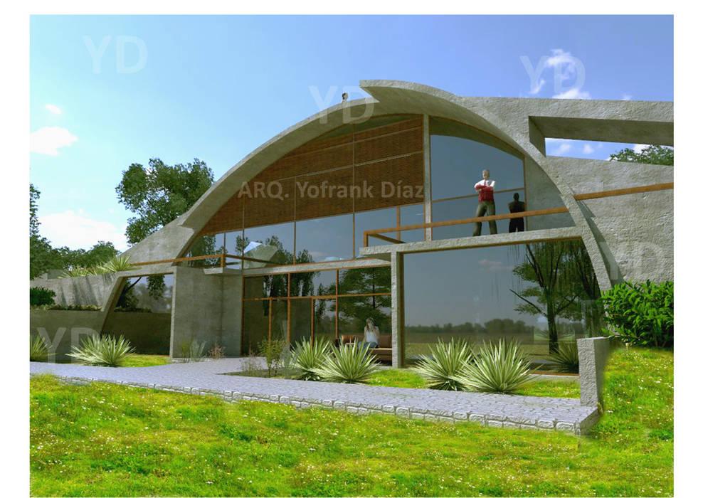 Fachada vivienda bioclimática. : Casas ecológicas de estilo  por Arq. Yofrank Diaz, Rural Concreto reforzado