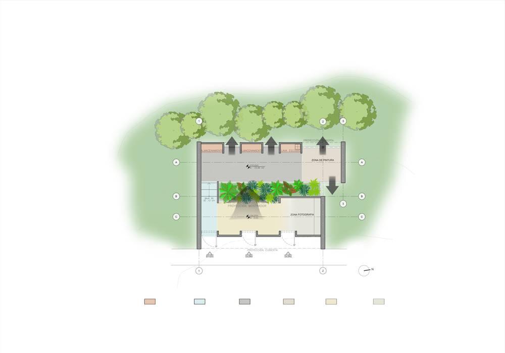 JARDÍN DEL ARTISTA Estudios y despachos de estilo moderno de PLANTA BAJA ESTUDIO DE ARQUITECTURA Moderno