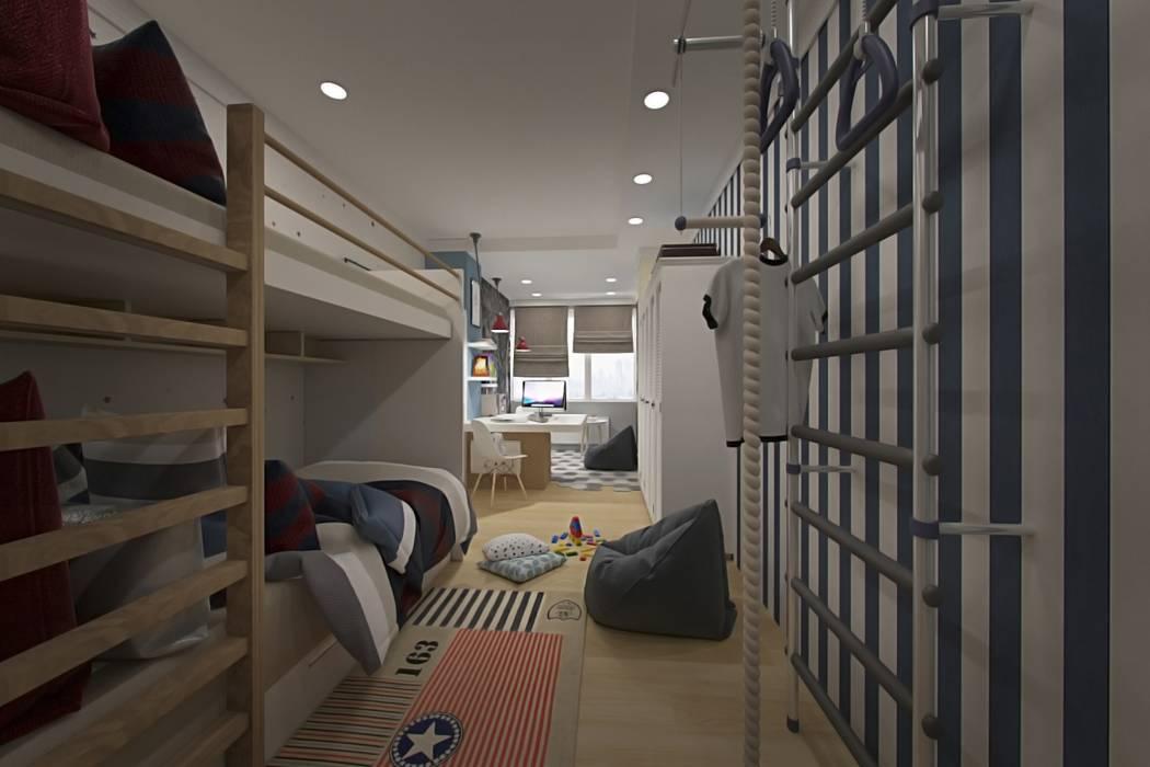 Детская для мальчиков: Спальни для мальчиков в . Автор – Гузалия Шамсутдинова | KUB STUDIO