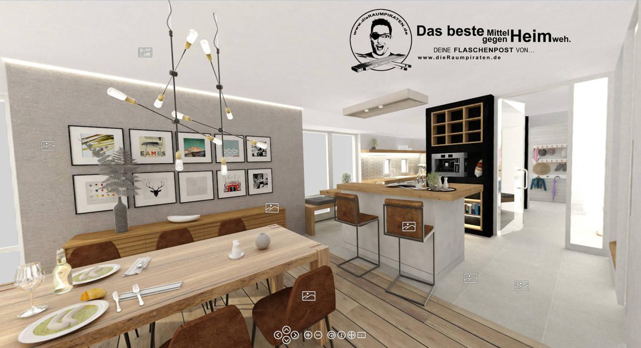 Esszimmer mit Tresen zur Küche: moderne Esszimmer von DIE RAUMPIRATEN®