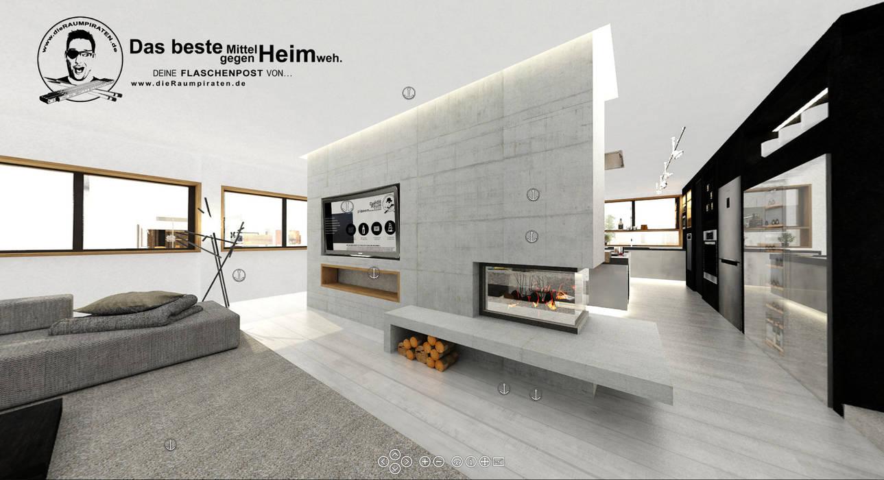 Wohnzimmer mit Raumteiler aus Beton:  Wohnzimmer von DIE RAUMPIRATEN®