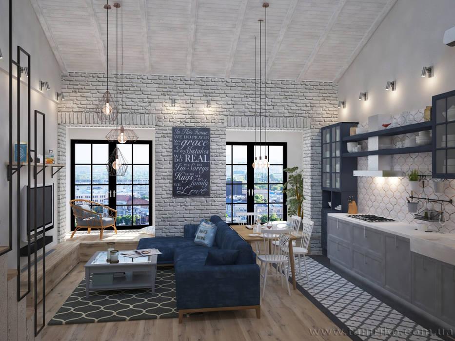 Loft Interior Design:  Living room by Tamriko Interior Design Studio