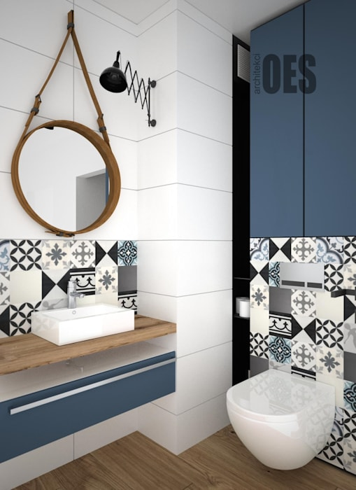 OES architekci Modern bathroom Ceramic Blue