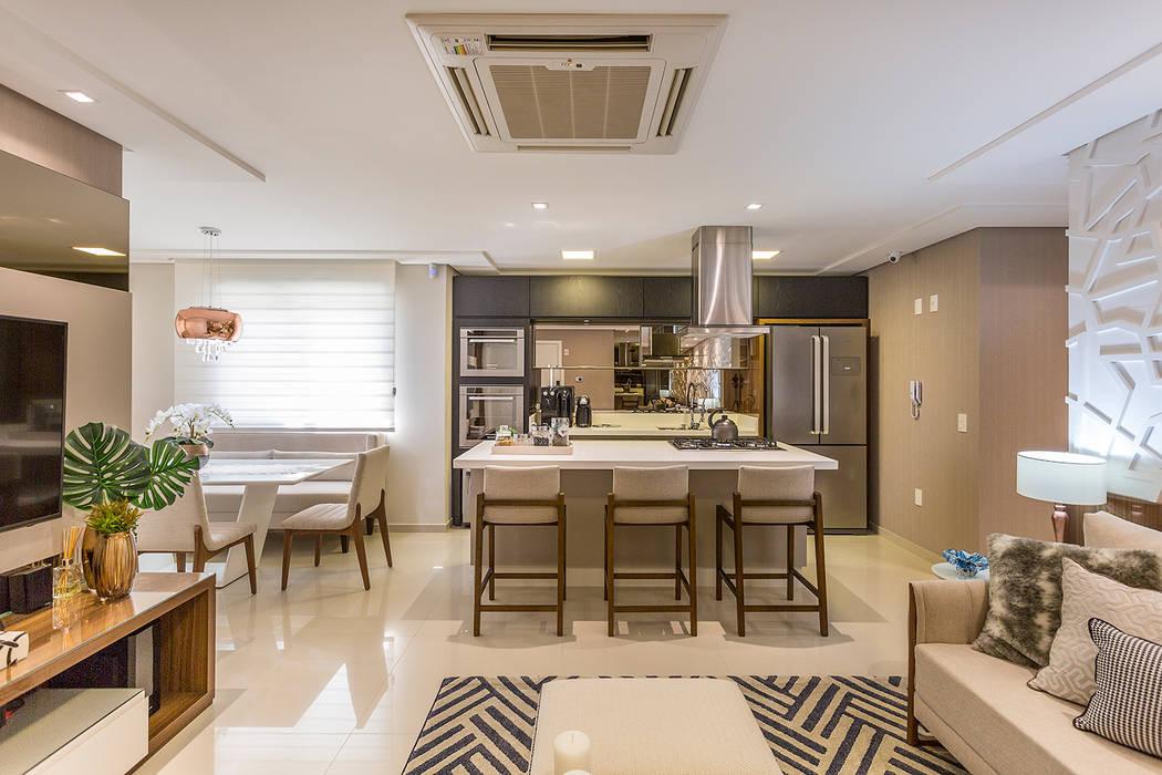Sala e cozinha integrada arm rios e bancadas de cozinha for Cocina americana sala de estar idea