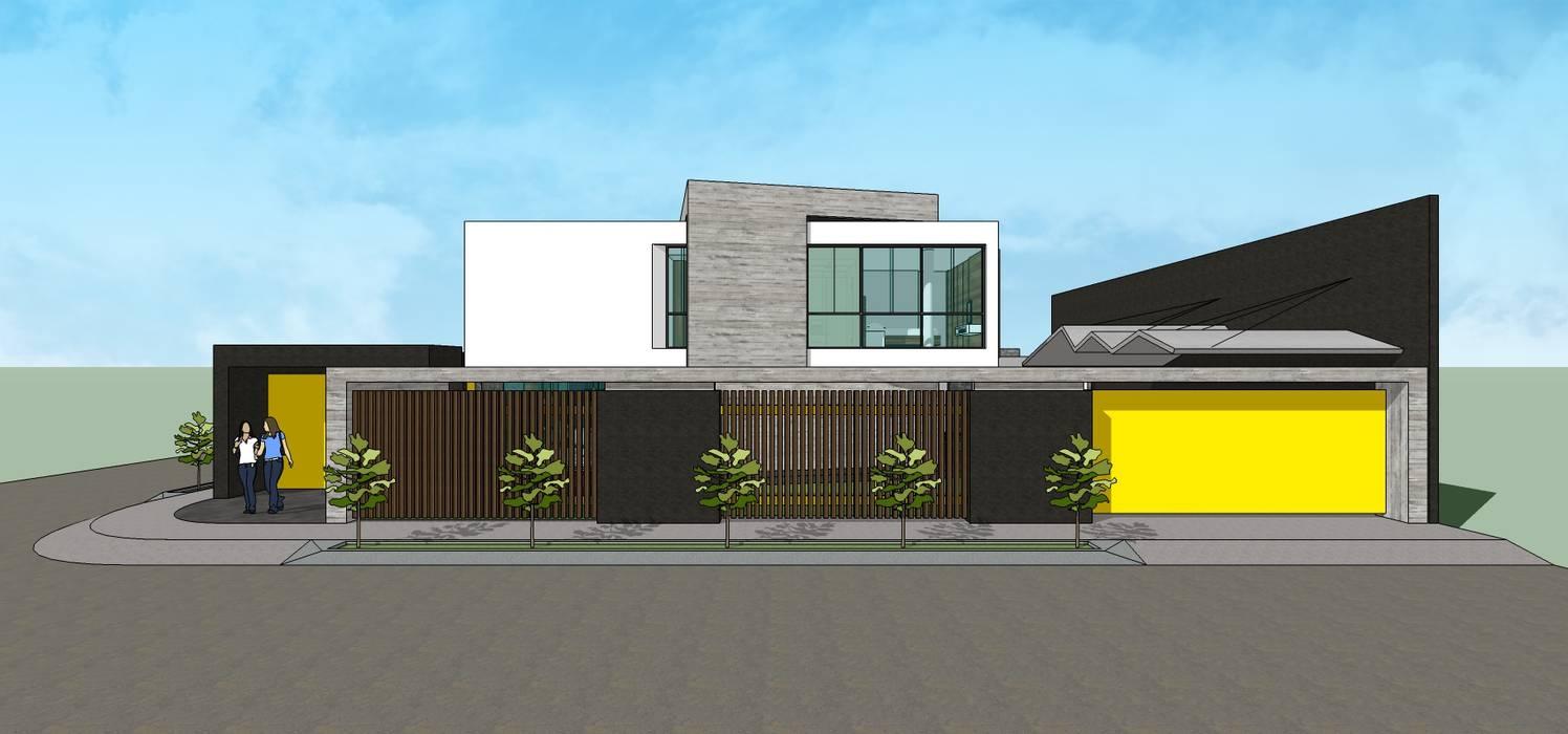 Fachada lateral + Frente: Casas unifamiliares de estilo  por MARATEA Estudio,