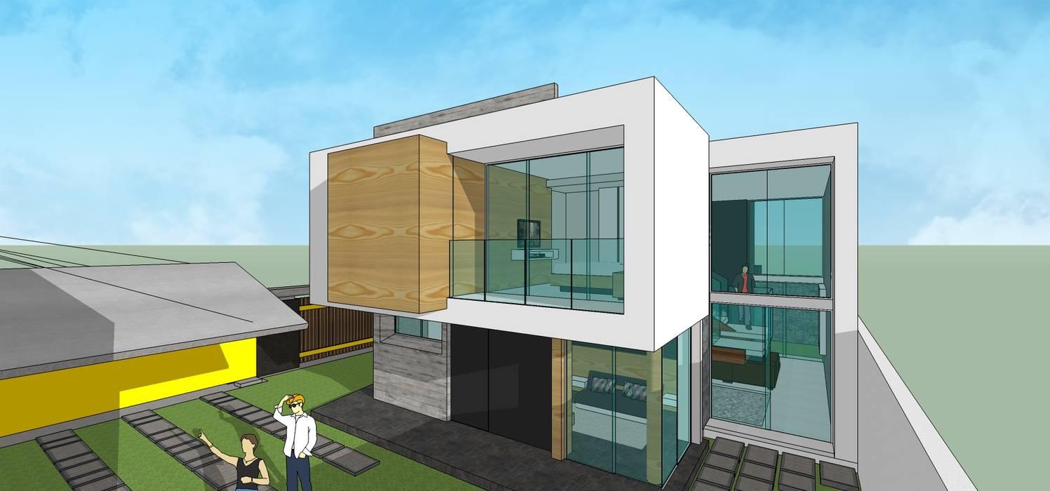 Fachada posterior: Casas unifamiliares de estilo  por MARATEA Estudio,