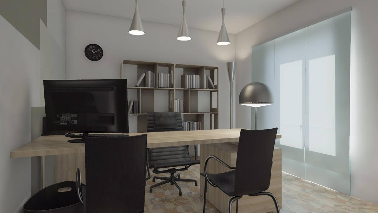 Ufficio: VISTA 3D REALISTICA: Complessi per uffici in stile  di Ing. Arch. Debora Piazza