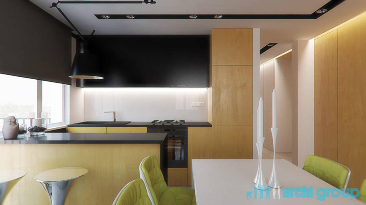 Projekt Salonu Z Kuchnią Styl W Kategorii Salon